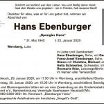 SHK-Innung Schwandorf – Wir nehmen Abschied von unserem Innungsmitglied Hans Ebenburger