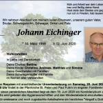 Schreinerinnung Schwandorf – Wir nehmen Abschied von unserem Innungsmitglied Johann Eichinger